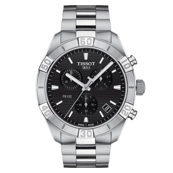 Tissot PR 100 Sport Gent Chronograph Schwarz Edelstahl-Armband Quarz 44mm T101.617.11.051.00