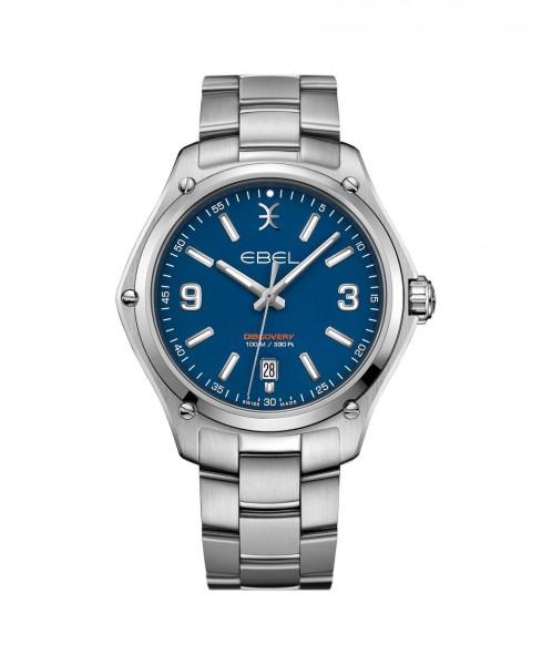 Ebel Discovery Gent Herrenuhr 41mm silber blau Quarz Uhr 1216400 | Sale | UHREN01