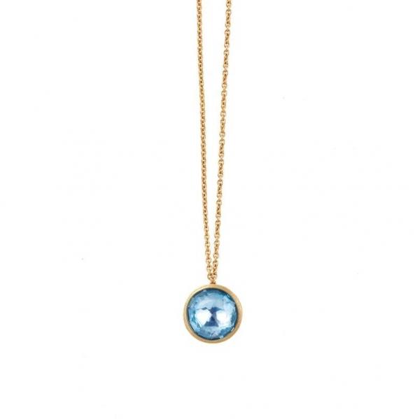 Marco Bicego Kette Jaipur mit großen blauem Topas Edelstein Gold 18 Karat CB2607-TP01