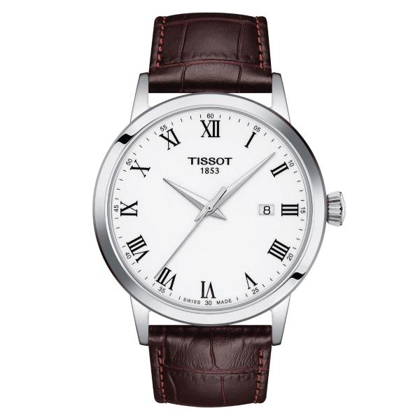 Tissot Classic Dream Herrenuhr Silber Weiß Leder-Armband Quarz 42 mm T129.410.16.013.00