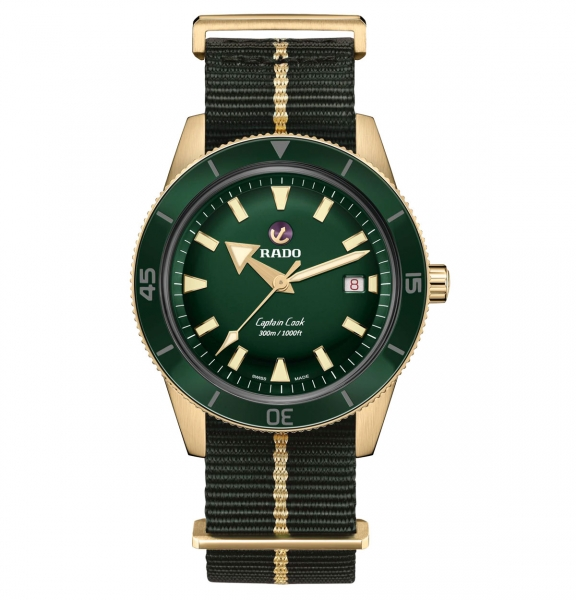 Rado Captain Cook Automatic Bronze Grün Nato-Textil-Armband 42mm Herrenuhr R32504317