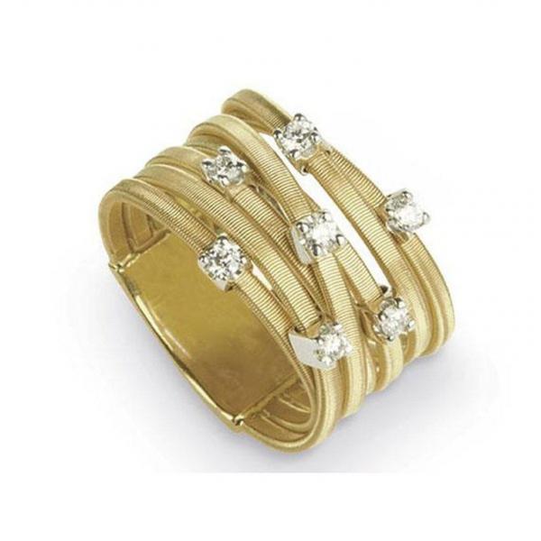Marco Bicego Ring Gold mit Diamanten 18 Karat 7 Stränge Goa  AG277 B YW