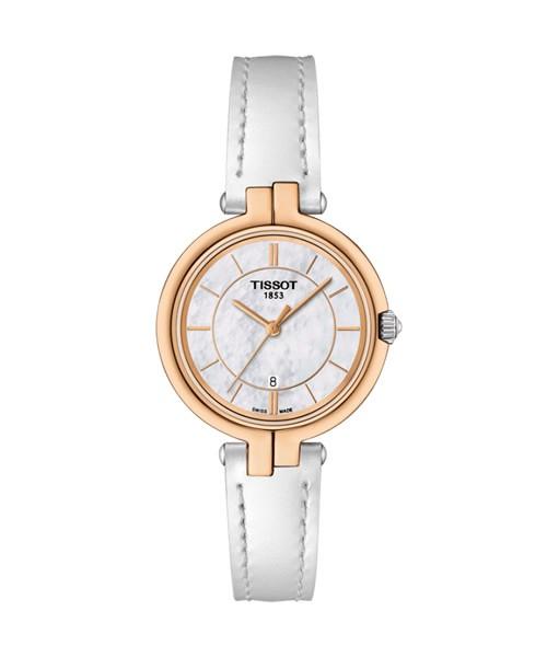 Tissot Flamingo Damenuhr Rosegold Leder-Armband weiß Quarz 26mm T094.210.26.111.01