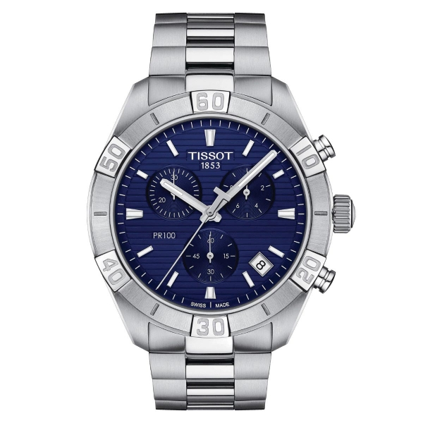 Tissot PR 100 Sport Gent Chronograph Blau Edelstahl-Armband Quarz 44mm T101.617.11.041.00