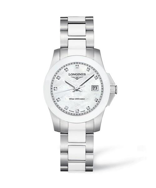Longines Conquest Lady 29,5mm Damenuhr mit 11 Diamanten und Weißen Perlmutt Zifferblatt L3.257.4.87.7