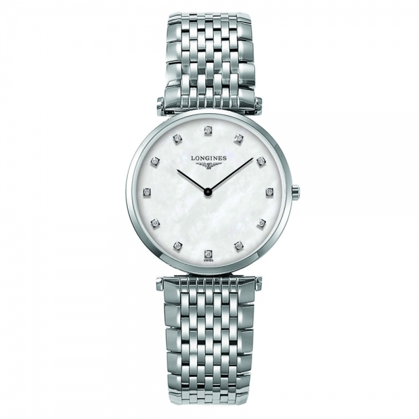 Longines La Grande Classique Damenuhr mit Diamanten Silber Weiß Quarz 33mm L4.709.4.87.6