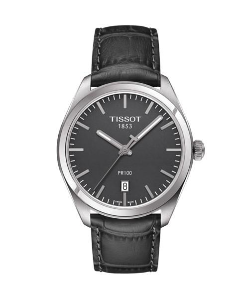 Tissot PR 100 Herrenuhr grau Leder-Armband Quarz 39mm T101.410.16.441.00