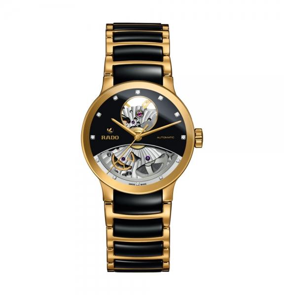 Rado Centrix Automatic Diamonds Open Heart Damenuhr Schwarz Gold 33mm R30246712
