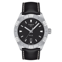 Tissot PR 100 Sport 42mm Schwarz Leder-Armband Quarz Herrenuhr T101.610.16.051.00