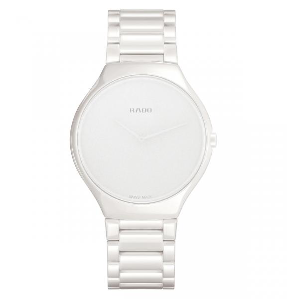 Rado True Thinline Stillness Uhr Damen Herren Weiß Keramik 39mm Quarz R27015012