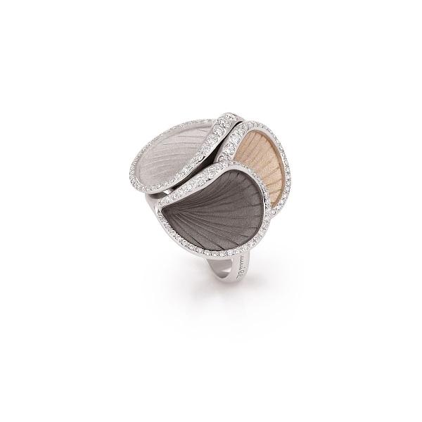 Annamaria Cammilli Musa Ring Weißgold Schwarzgold Beigegold mit Diamanten GAN2522T