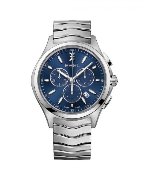 Ebel Chronograph 42mm Quarz Edelstahl Zifferblatt blau Ebel Wave 1216344 | Sale | UHREN01