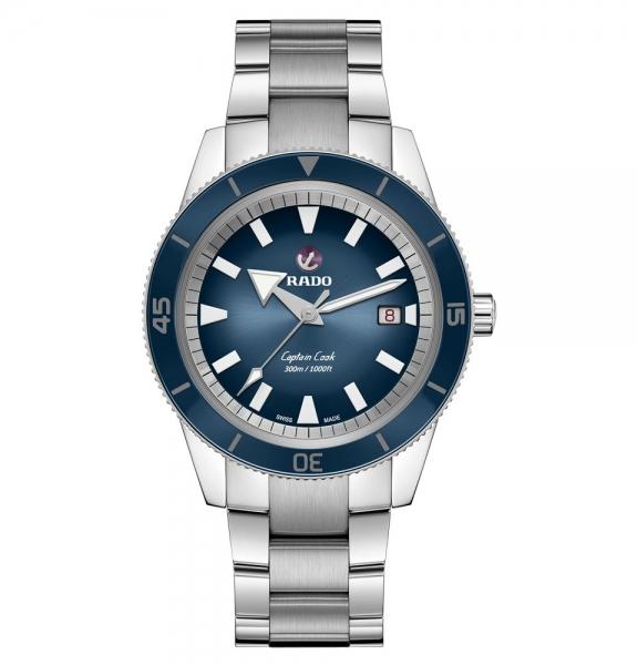 Rado Captain Cook Automatic Herrenuhr Blau 42mm Edelstahl-Armband R32105203
