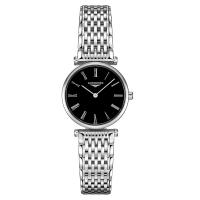 Longines La Grande Classique Damen 24 mm Silber Schwarz Edelstahl-Armband Quarz L4.209.4.51.6 | Uhren01