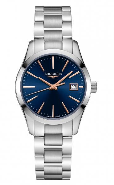 Longines Conquest Classic Damenuhr blau silber Edelstahl-Armband 34mm L2.386.4.92.6 zum günstigen Preis online kaufen | UHREN01