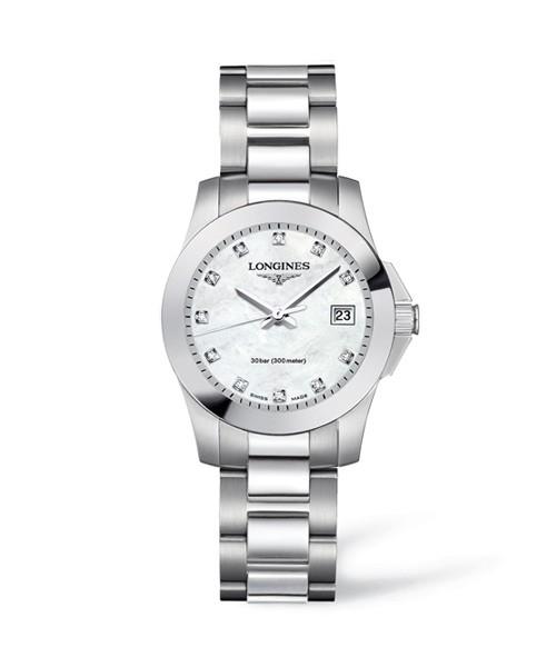 Longines Conquest Damenuhr mit Perlmutt-Zifferblatt & Diamanten silber Edelstahl-Armband L3.376.4.87.6 zum günstigen Preis online kaufen | UHREN01