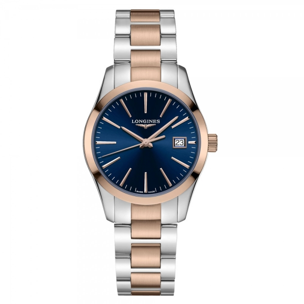 Longines Conquest Classic Damen Bicolor Zifferblatt Blau 34mm Quarz L2.386.3.92.7