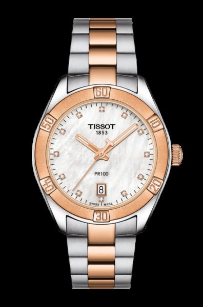 TISSOT PR 100 SPORT CHIC LADY Quartz Damenuhr Perlmutt Zifferblatt mit 12 Diamanten T101.910.22.116.00