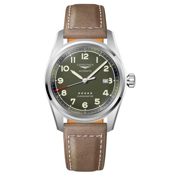 Longines Spirit Automatik 42mm Grün Leder-Armband L3.811.4.03.2