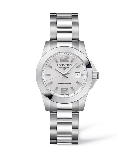Longines Conquest Lady 29,5mm Damenuhr mit Silberfarbenem Zifferblatt L3.376.4.76.6