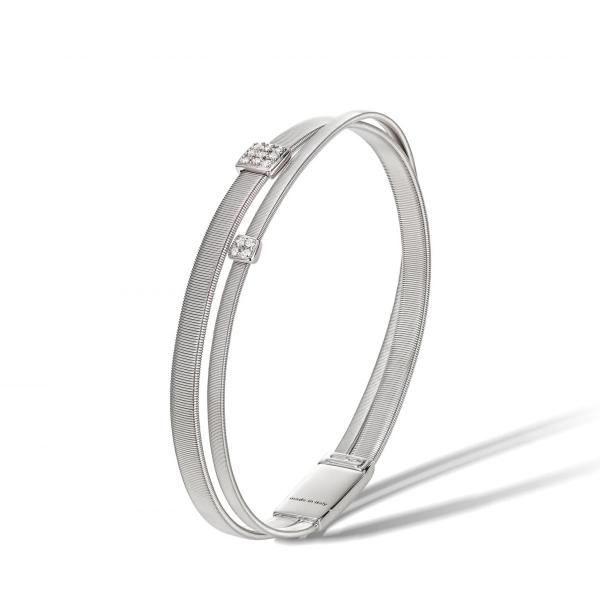 Marco Bicego Armband Masai Weißgold & Diamanten Paves 2 Stränge BG732 B W