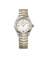 Ebel Damenuhr Bicolor Edelstahl Gold mit römischen Ziffern Ebel Wave Lady 1216375