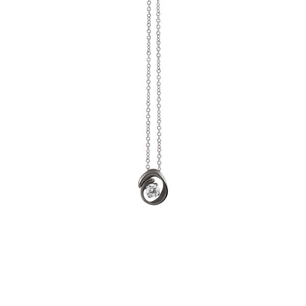 Annamaria Cammilli Halskette Schwarz Gold Black Lava 18 Kt Anhänger mit Diamanten Dune Assolo GPE1547E | UHREN01