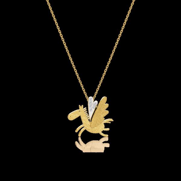 Luisa Rosas Anhänger mit Kette Pegasus Gold Diamanten Caring Tales LRCT150
