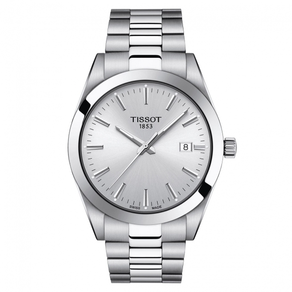 Tissot Gentleman Quartz Herrenuhr Edelstahl-Armband Silber & Zifferblatt 40mm T127.410.11.031.00 | UHREN01