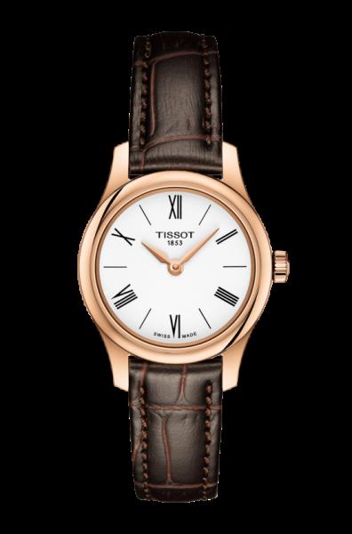 Tissot Tradition 5.5 Damenuhr Rosegold Leder-Armband braun T063.009.36.018.00