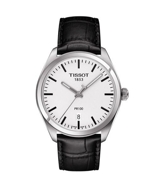 Tissot PR 100 Herrenuhr silber Zifferblatt weiß Leder-Armband schwarz Quarz 39mm T101.410.16.031.00
