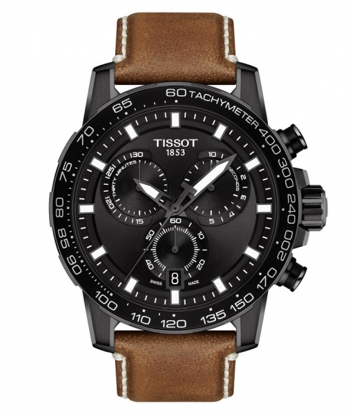 Tissot Supersport Chrono Quartz Schwarz Leder-Armband Braun 45mm T125.617.36.051.01 | UHREN01