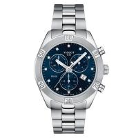 Tissot Damenuhr Chronograph Silber mit blauem Zifferblatt & Diamanten Quartz 38 mm T-Classic PR 100 Sport Chic Chronograph T101.917.11.046.00