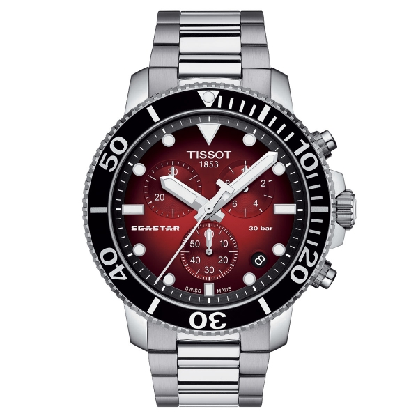 Tissot Seastar 1000 Chronograph Rot Edelstahl-Armband Quarz 45mm Herrenuhr T120.417.11.421.00