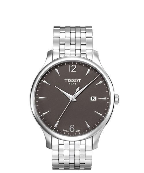 Tissot Tradition Herren-Uhr 42mm silbern Zifferblatt Anthrazit Edelstahl-Armband T063.610.11.067.00