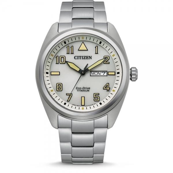 Citizen Herren Uhr BM8560-88XE Weiss Super Titanium Eco-Drive