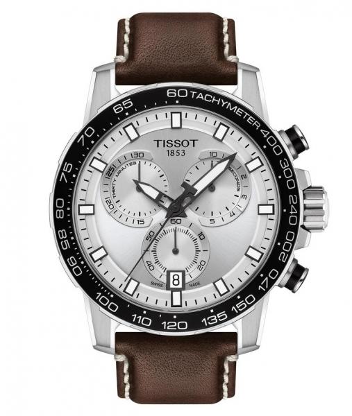 Tissot Supersport Chrono 45mm Silber Leder-Armband Braun Quarz Chronograph T125.617.16.031.00 | UHREN01