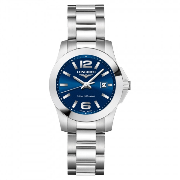 Longines Conquest Damenuhr Blau Edelstahl-Armband Quarz 29,5 mm L3.376.4.96.6