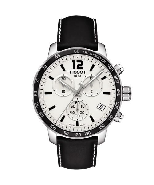Tissot Quickster Chronograph 42mm silber weiß Leder-Armband schwarz T095.417.16.037.00