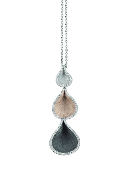Annamaria Cammilli Damen Halskette Goccia 45cm mit Anhänger 750er Weißgold mit 0,28ct Diamanten GPE2113