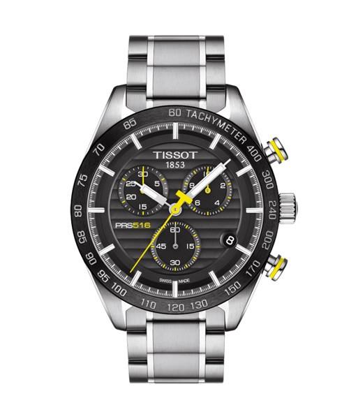 Tissot PRS 516 Chronograph 42mm schwarzes Zifferblatt Edelstahl-Armband Quarz T100.417.11.051.00