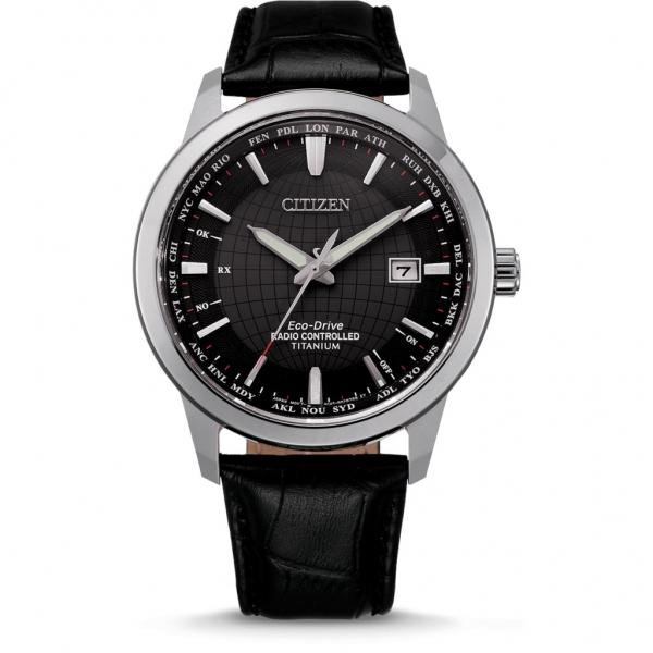 Citizen Eco-Drive Titanium Weltzeit Funkuhr Herren Silber Schwarz Lederarmband CB0190-17E