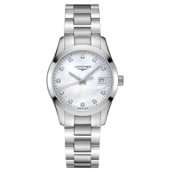 Longines Conquest Classic Damenuhr Diamanten Perlmutt-Zifferblatt Silber 34mm Quarz L2.386.4.87.6