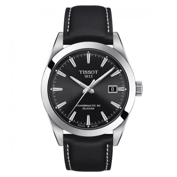 Tissot Gentleman Powermatic 80 Silicium Herren Uhr Schwarz Leder-Armband 40mm T127.407.16.051.00