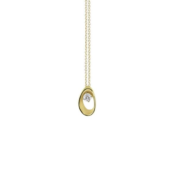 Annamaria Cammilli Halskette Lemon Bamboo Gold 18 Karat Anhänger mit Diamanten Dune Assolo GPE1548Y | UHREN01