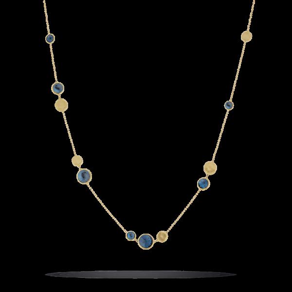 Marco Bicego Halskette Jaipur mit blauen London Topas Edelsteinen Gold 18 Karat CB1485-TPL01