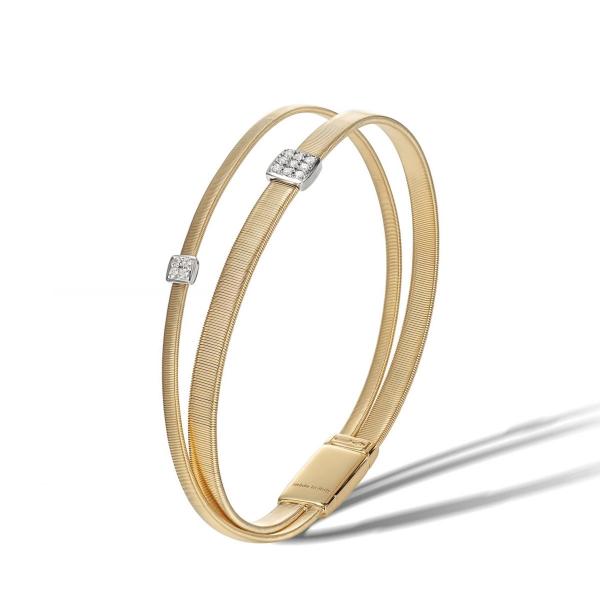 Marco Bicego Armband Masai Gold & Diamanten Paves 2 Stränge BG732 B YW