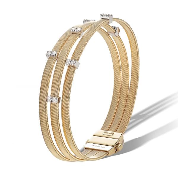 Marco Bicego Armband Masai Gold mit Diamanten Paves 3 Stränge BG805 B YW