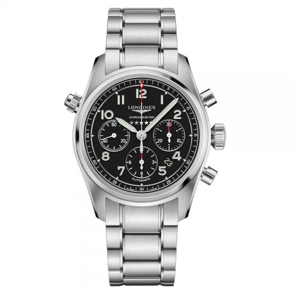 Longines Spirit Automatik Chronograph Herrenuhr 42mm Schwarz Edelstahl-Armband L3.820.4.53.6