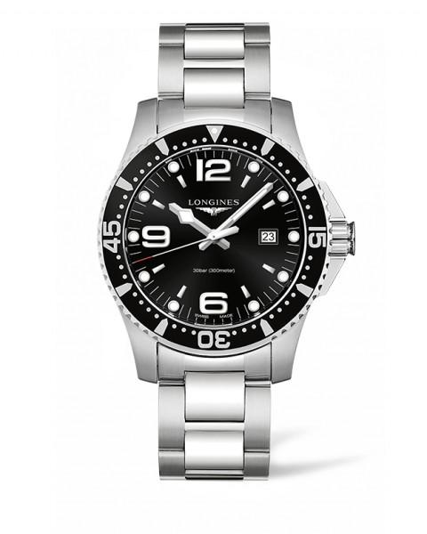 Longines HydroConquest 44mm schwarz Quarz Herren-Uhr Edelstahl-Armband L3.840.4.56.6 zum günstigen Preis online kaufen | UHREN01